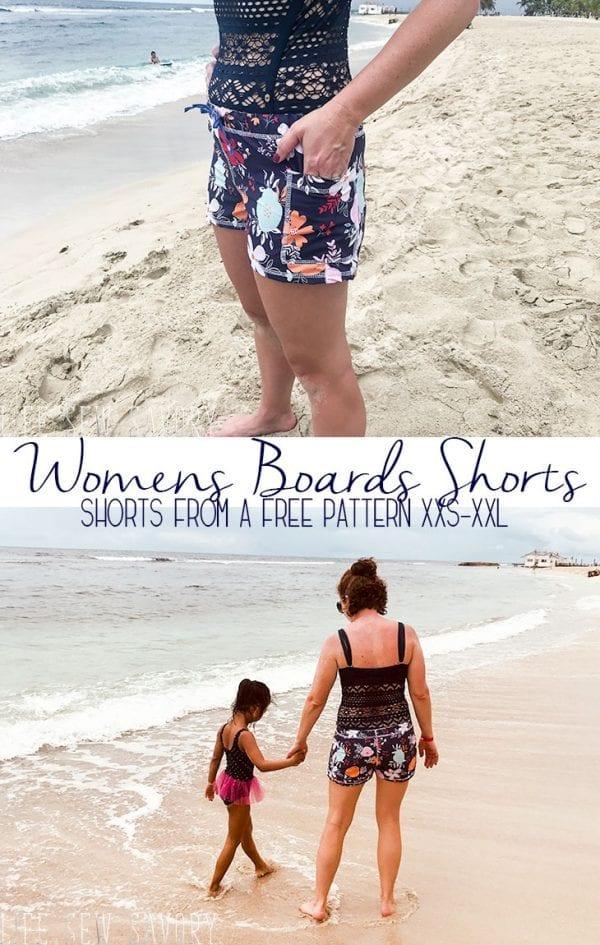 Free sewing pattern: Women's board shorts