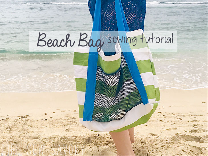 Sewing tutorial: Beach bag with a mesh pocket