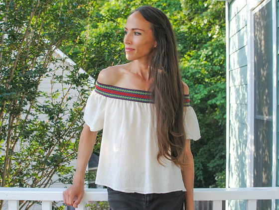 Sewing tutorial: Off the shoulder boho top