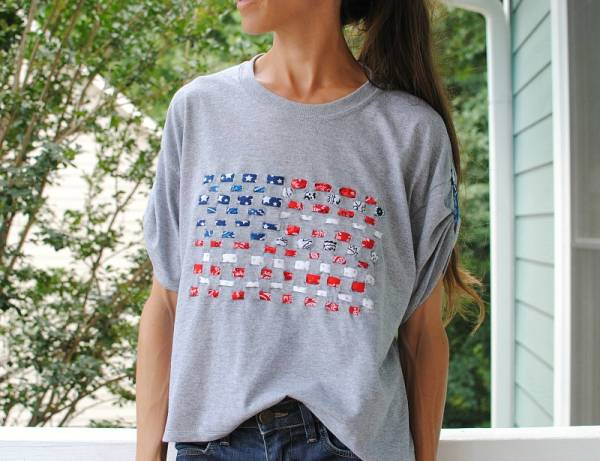 Tutorial Woven Fabric Flag T Shirt Sewing
