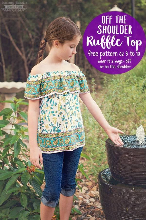 Free pattern: Girls off the shoulder top