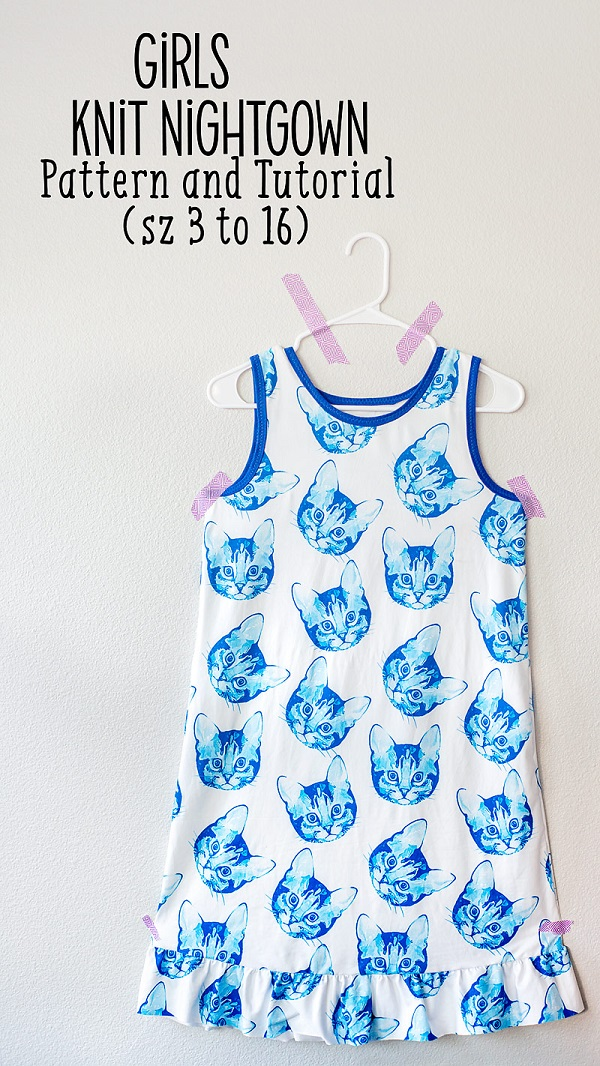 Free sewing pattern: Girls knit nightgown