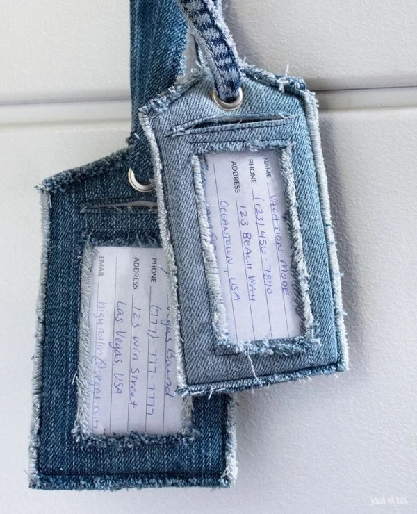 Sewing tutorial: Recycled denim luggage tags
