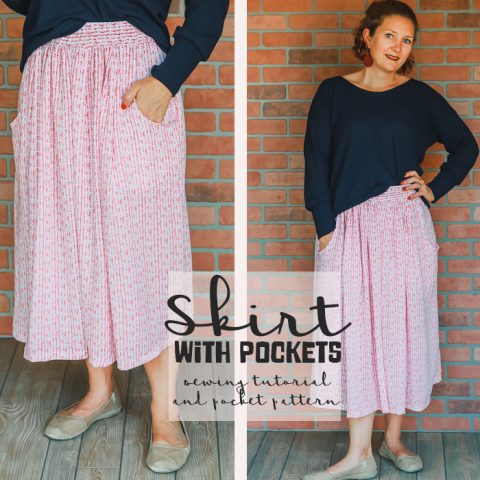 Sewing tutorial: Gathered skirt with pockets