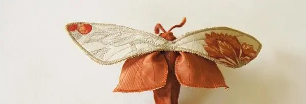 Textile Moth Sculpture from Fabric Scraps - Free Sewing Pattern