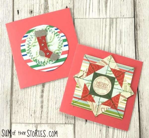 Stitched Scrapbook Paper Christmas Cards - Sewing Tutorial