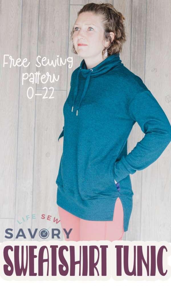 Women's Cowl Neck Sweatshirt Tunic - Free Sewing Pattern