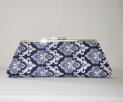 Navy and White Frame Clutch