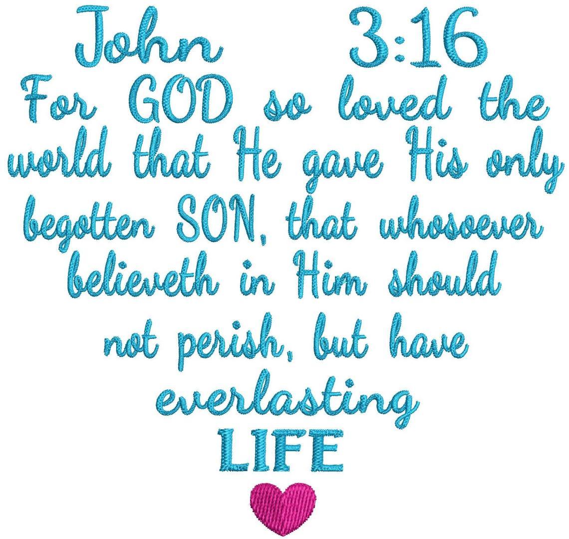 Download John 3:16 Love Scripture Heart Embroidery instant digital ...