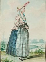 1770s Dutch Woman's Outfit with mixed print fabrics found on digital.bunka.ac.jp