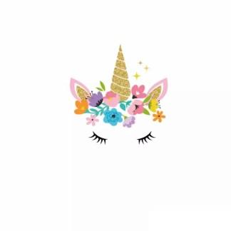 Vinyltryck unicorn eyes guld liten 10x10