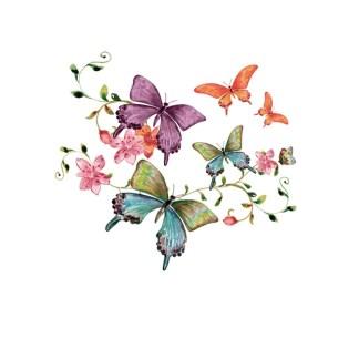 Vinyltryck fjärilar pastell 22x20