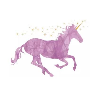 Vinyltryck unicorn lila 25x18