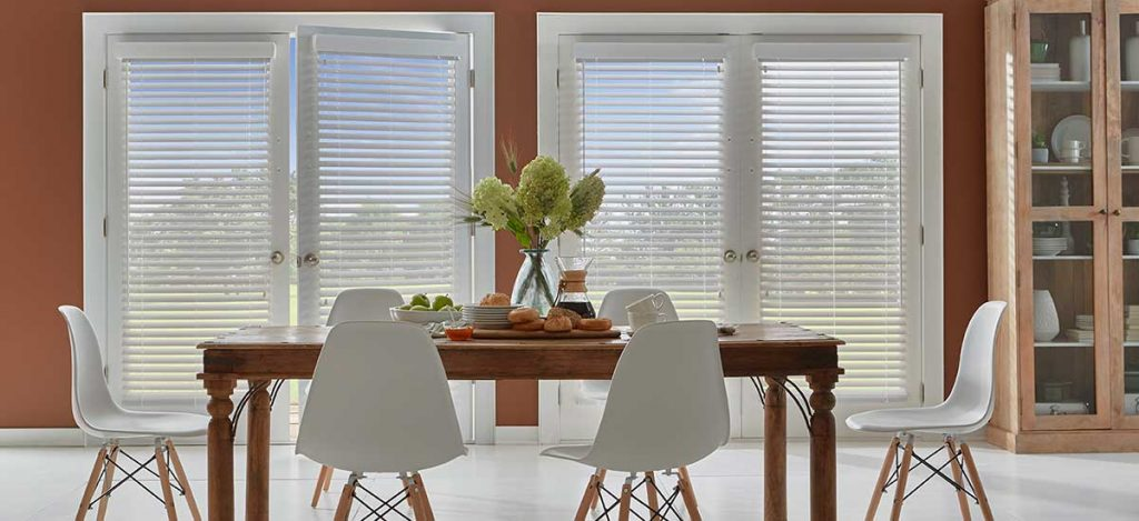 Dramatic Dining room Window Treatment