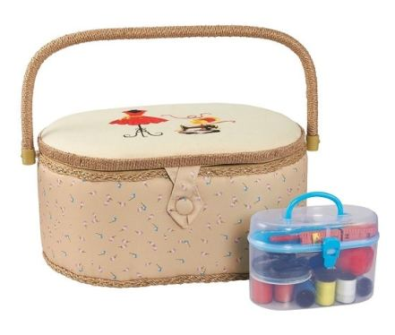 Vintage Sewing Basket Organizer Box Kit with Hand Sewing Supplies and Notions
