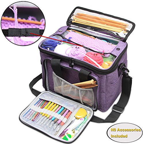 Teamoy Knitting Bag, Yarn Storage Tote with Inner Divider for Yarn and Unfinished Project