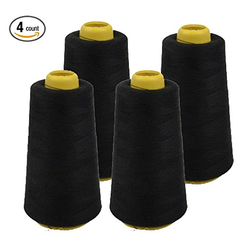 Foamily 4 PACK of 6000 Yard Spools Black Sewing Thread