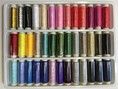 ZXUY 39 Assorted Color 200 Yards Per Unit Polyester Sewing Thread