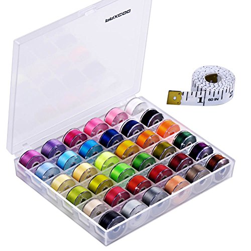 Paxcoo 36 Pcs Bobbins and Sewing Threads with Case