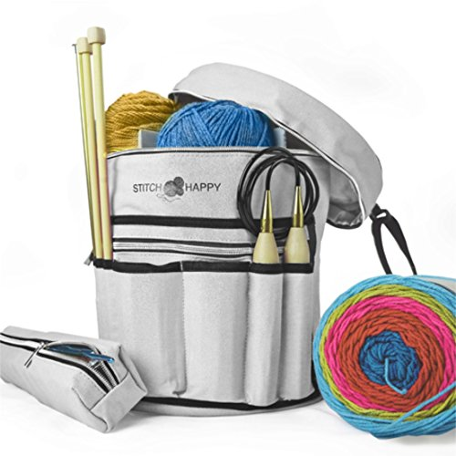 Stitch Happy Knitting Bag - Yarn Tote Organizer w/Tool Case, 7 Pockets + Divider for Extra Storage of Projects