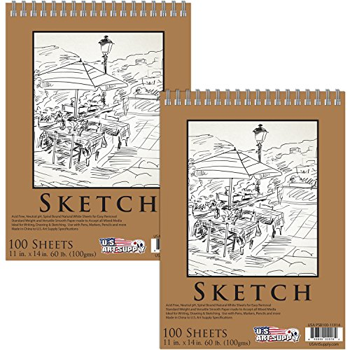 "U.S. Art Supply 11"" x 14"" Premium Spiral Bound Sketch Pad"