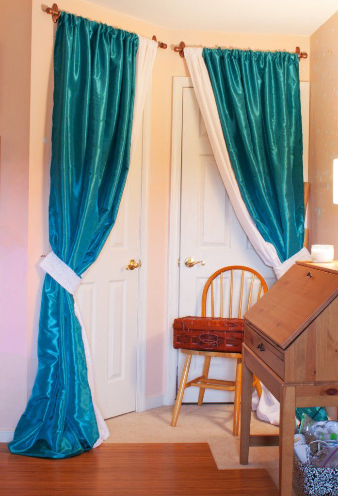 DIY Sewing Room Glam Up Series Closet Door Drapes And Homemade Curtain Rods Sewing Parts
