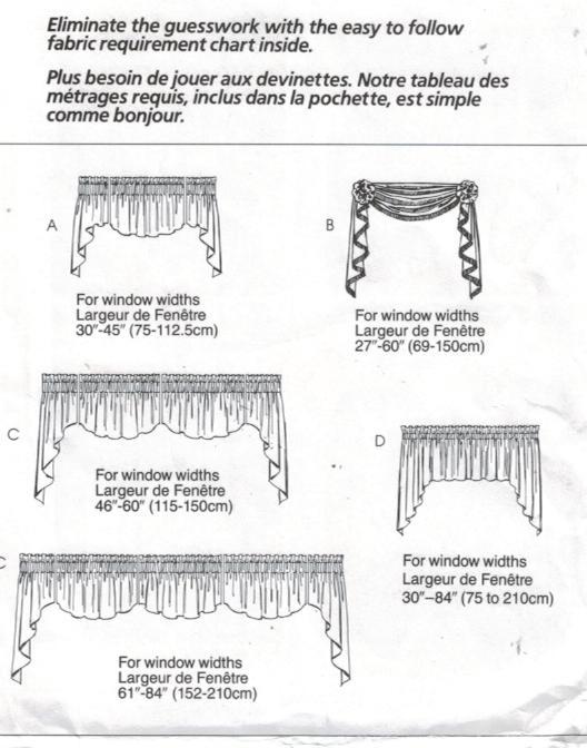 mccalls pattern 3089 home dec in a sec curtain valances