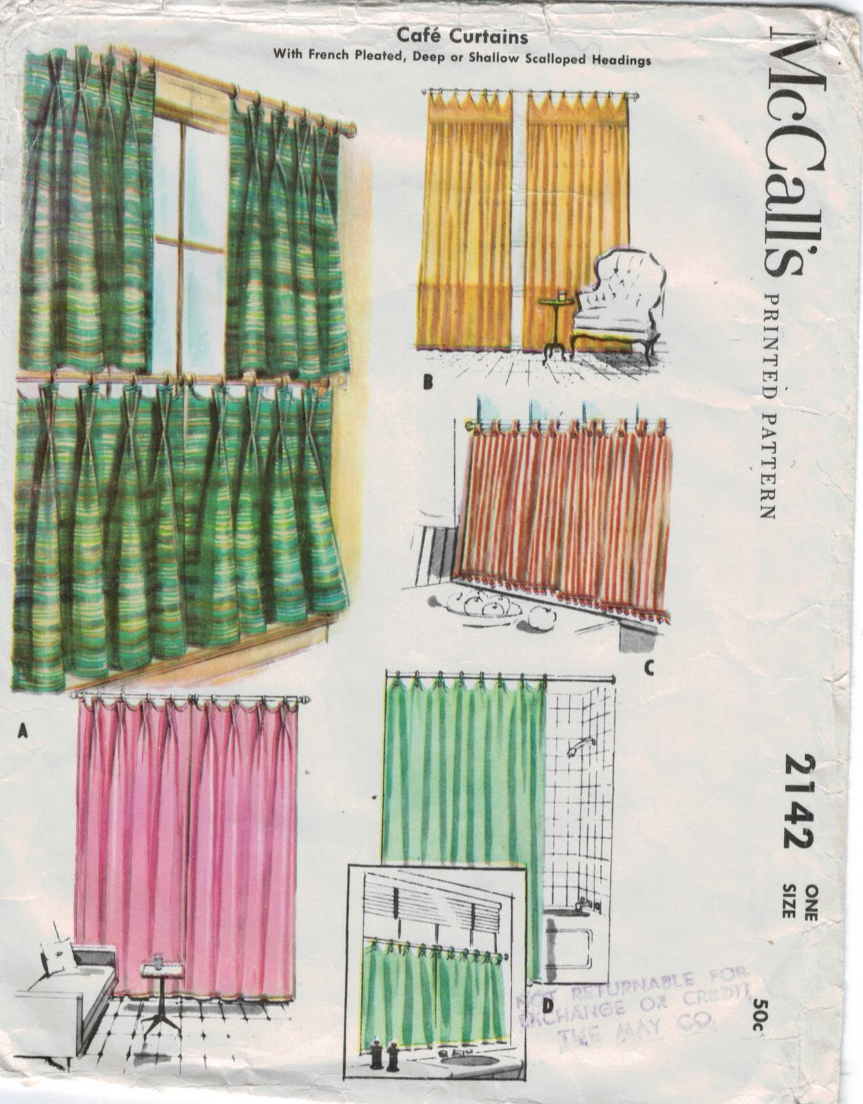 Mccalls Pattern Cafe Curtains French Pleated Deep