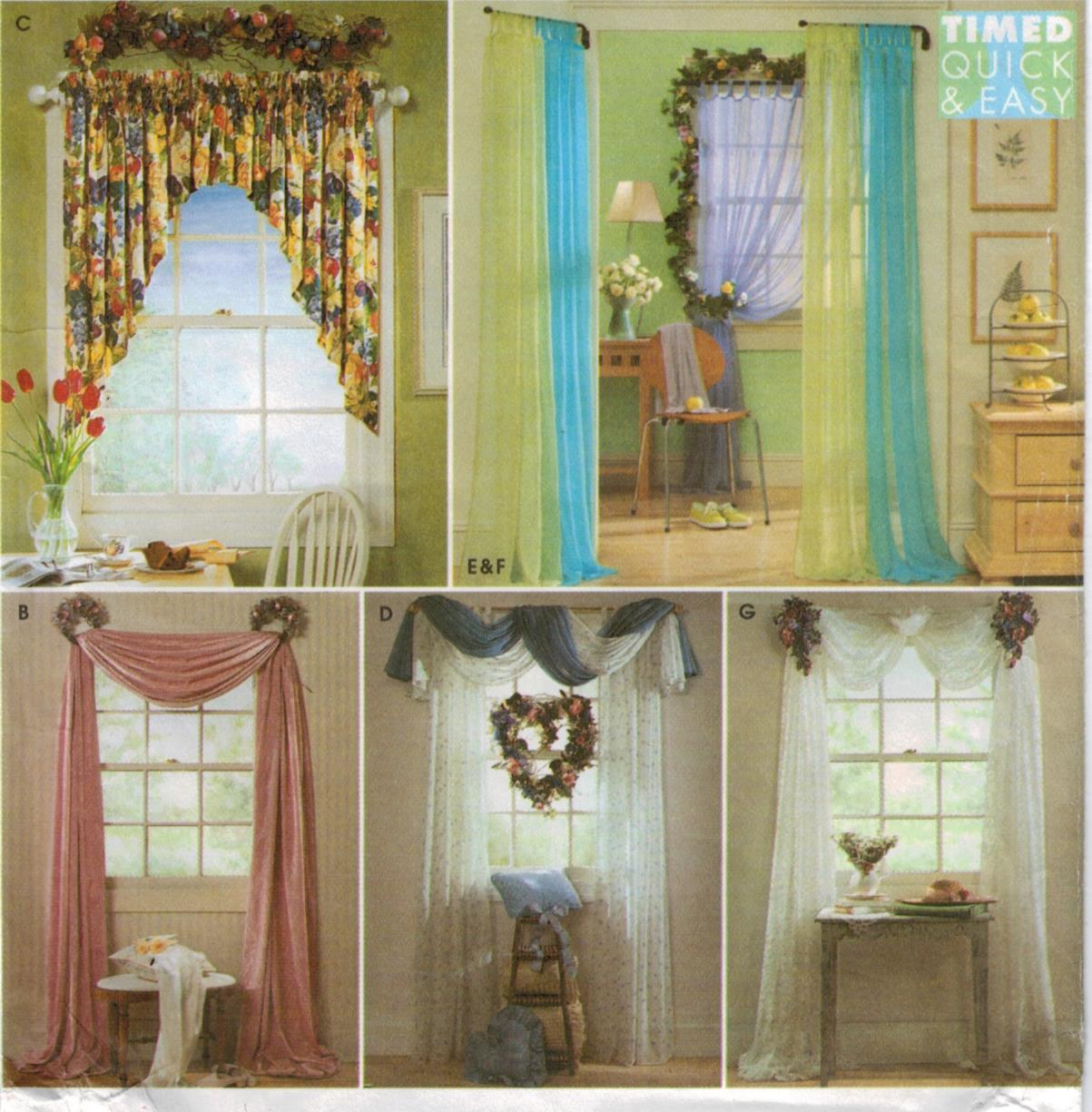 simplicity pattern 8344 quick and easy swag and valance window treatments with floral arrangements home dec