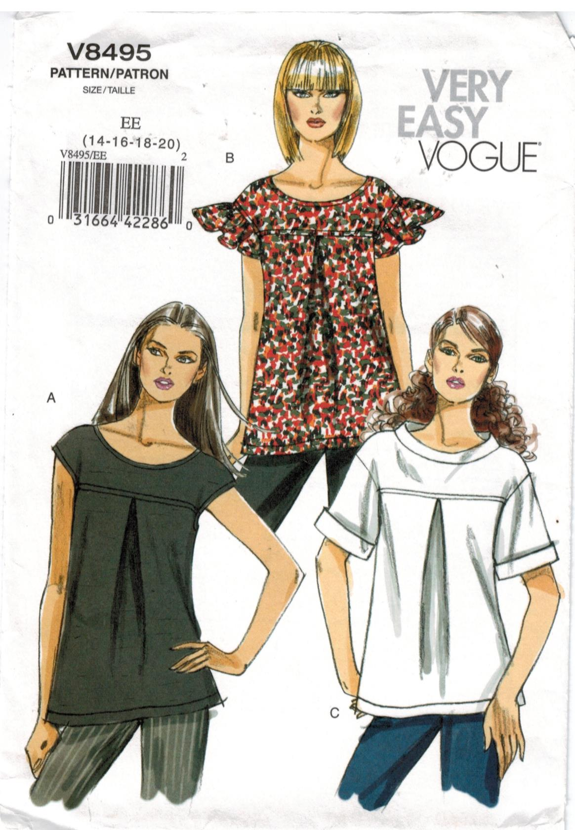 Vogue Pattern 12 Very Easy Vogue Pullover Tops for Misses size ...
