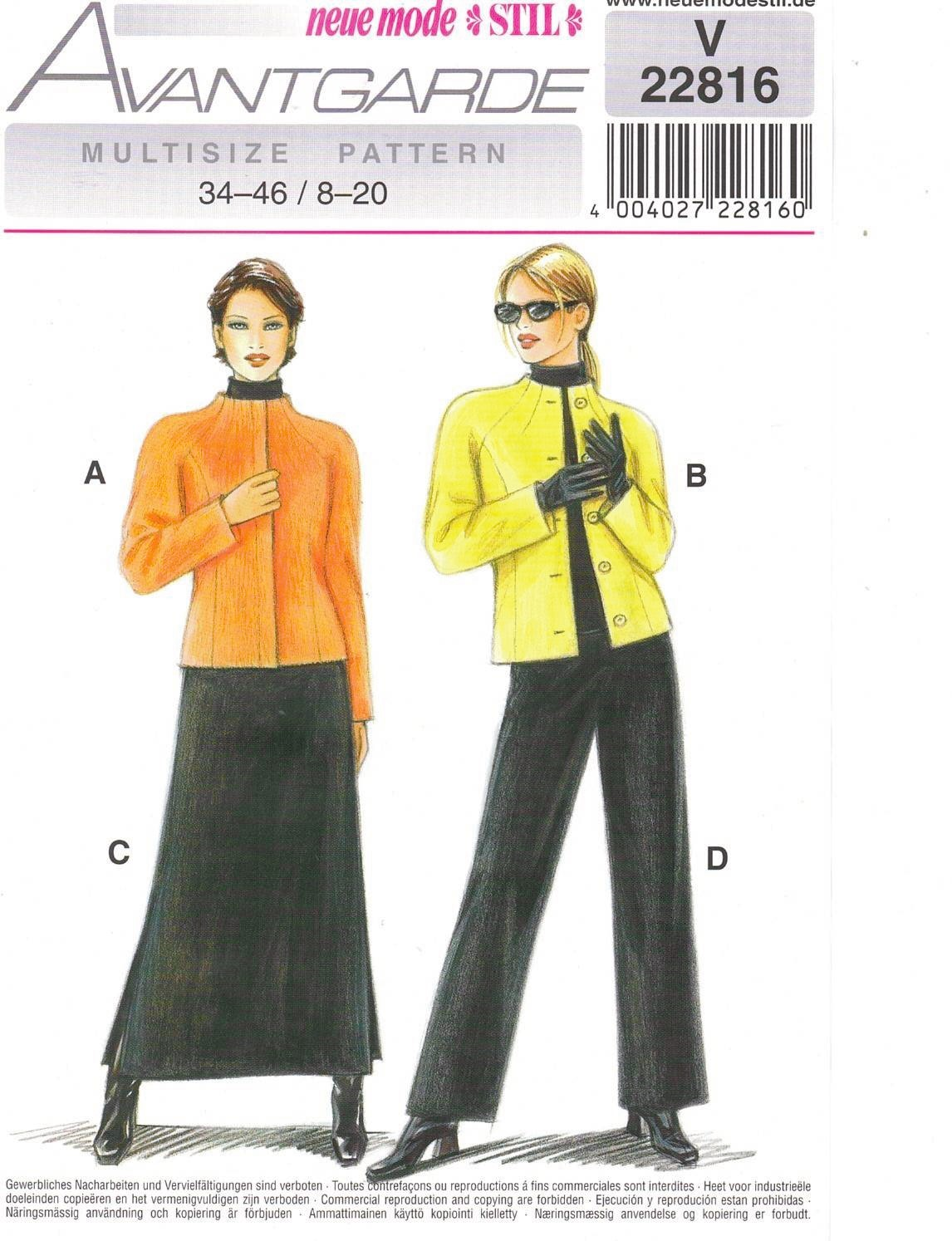 Neue Mode Avantgarde V 20621 Sewing Pattern New