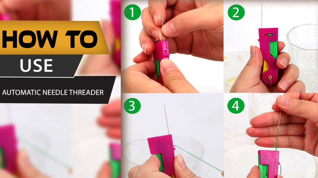 process of using automatic needle threader