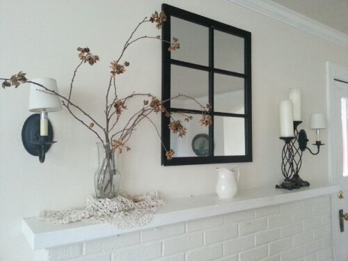 white spring mantel by Sew.Knit.Create