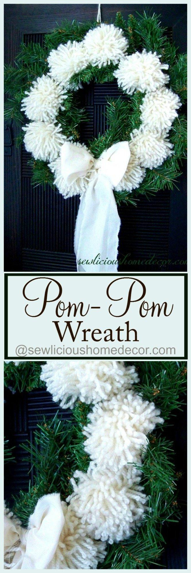 How To Make A Pom Pom Wreath Tutorial sewlicioushomedecor.com