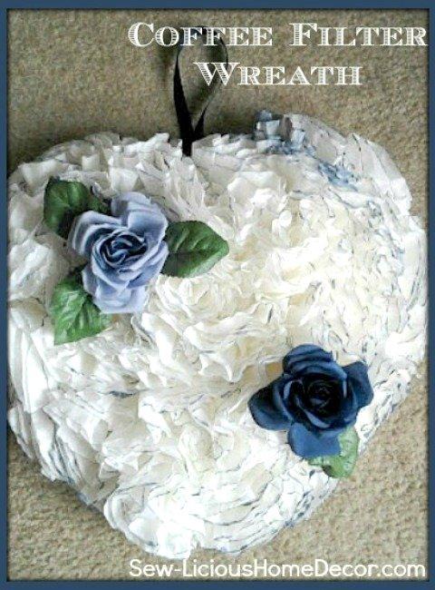 How To Make A Coffee Filter Wreath Tutorial sewlicioushomedecor.com