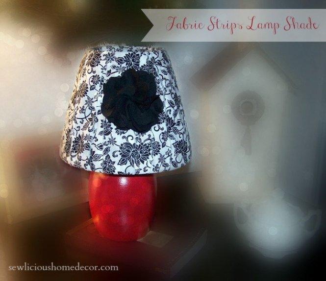Fabric Strips lamp shade redo
