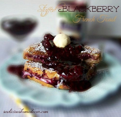 Stuffed Blackberry French Toast breakfast with blackberry syrup