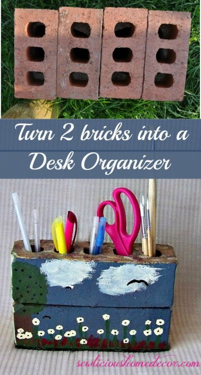Two bricks desk organzier