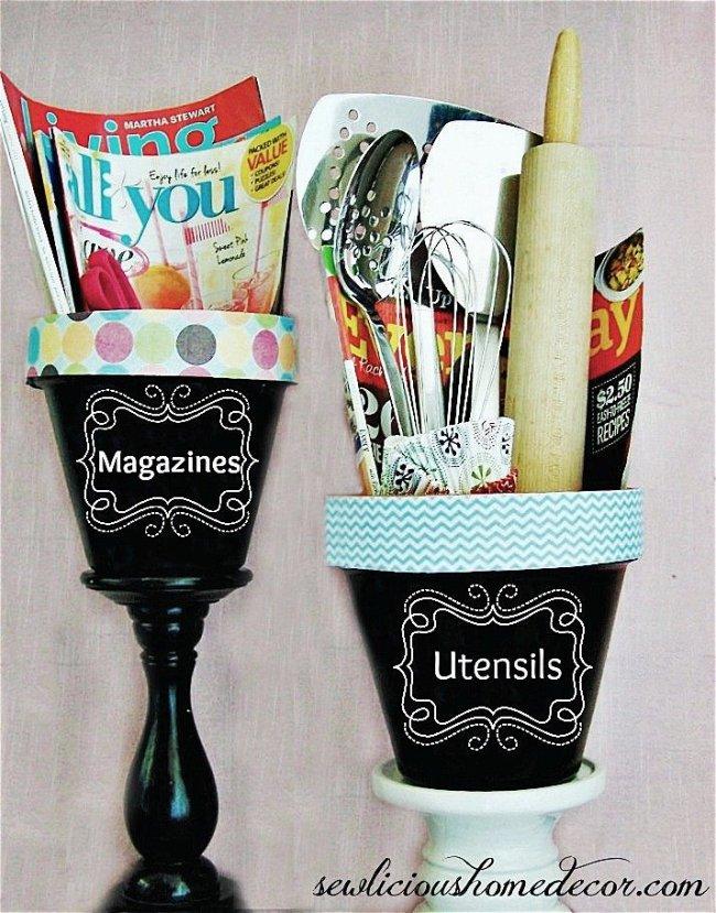 Flower Pot Craft Room Organization magazines utensils