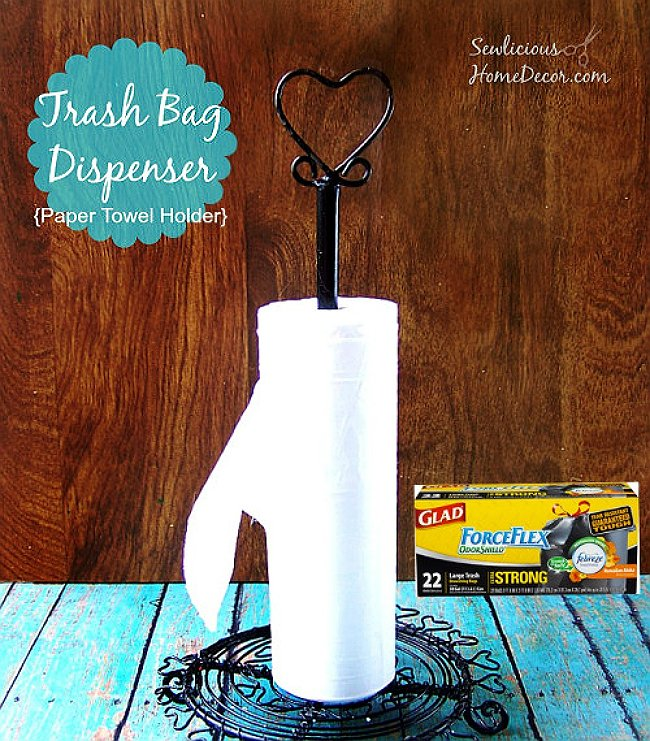 #Trash Bag Dispenser from a paper towel holder at sewlicioshomedecor