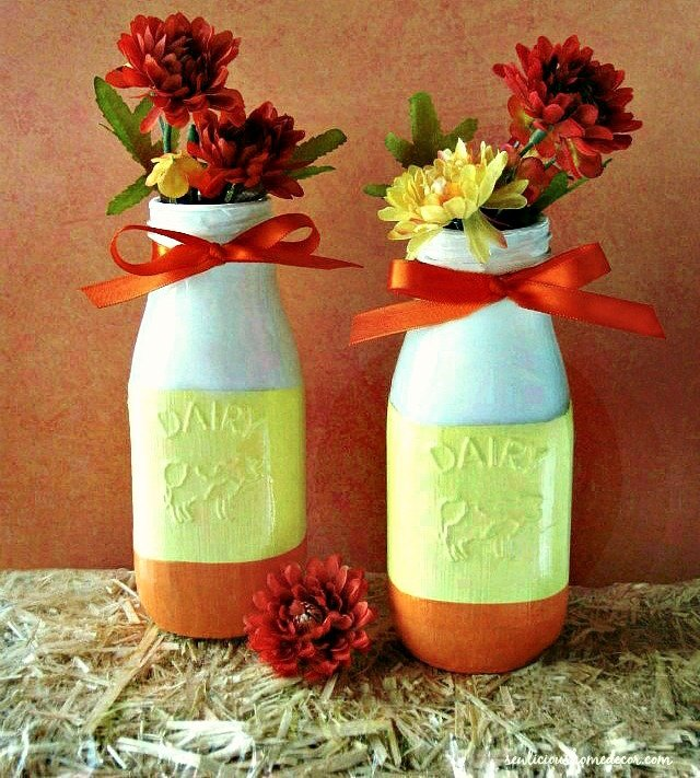 Fall-PaintedCandy-Corn-Milk-Bottles-at -sewlicioushomedecor