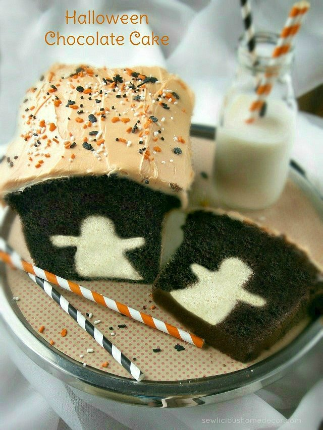 Halloween Chocolate Ghost Cake