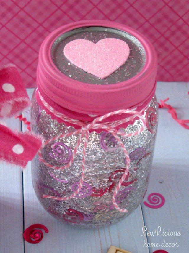 DIY Valentine Glitter Confetti Jars