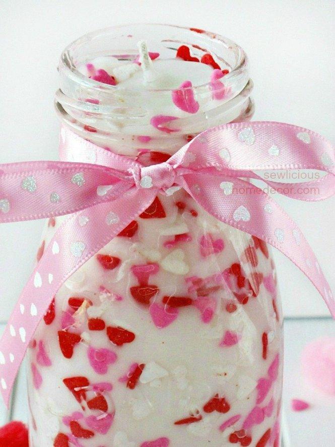 Easy Valentine Sprinkles Candle Gifts free tutorial sewlicioushomedecor.com