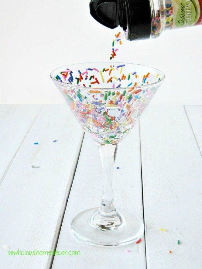 Funfetti Candy Coated Martini glasses sewlicioushomedecor.com