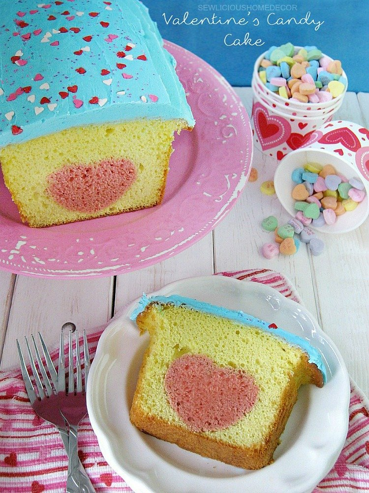 Heart Valentines Day Candy  Lemon Cake sewlicioushomedecor.com