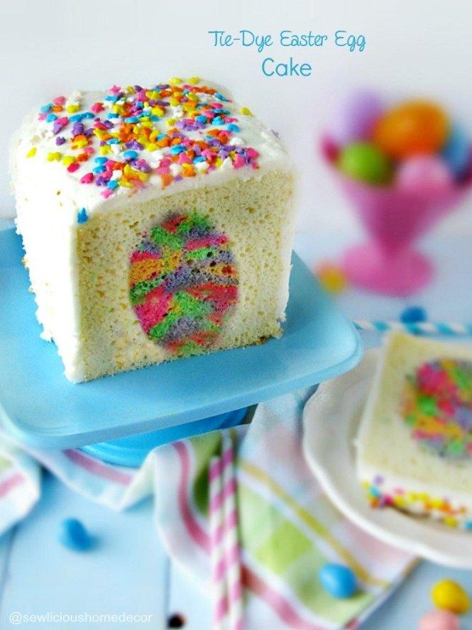 Tie Dye Easter Egg Cake sewlicioushomedecor.com