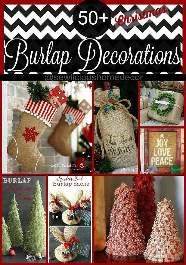 50 Plus Burlap Christmas Decorations by sewlicioushomedecor.com