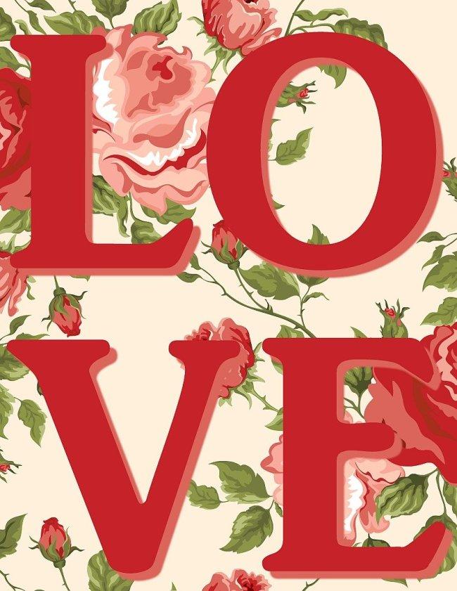 Vintage LOVE Floral Free Printable at sewlicioushomedecor.com