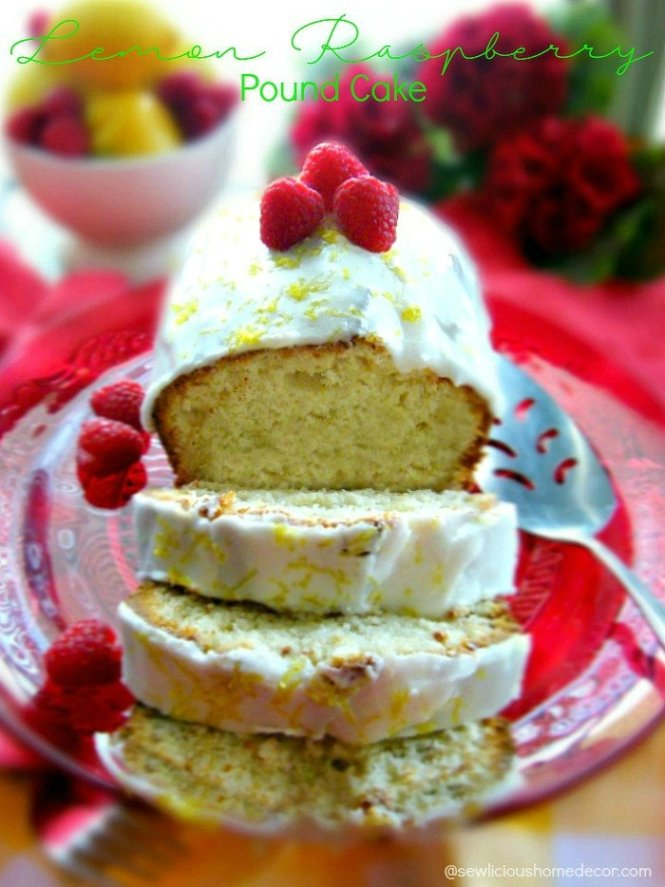 Lemon Raspberry Yogurt Pound Cake at sewlicioushomedecor.com